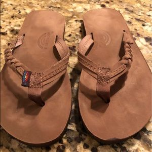 Rainbow flip flops, worn once
